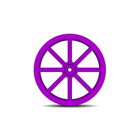 Vintage houten wiel in paars ontwerp met schaduw Vector Illustratie