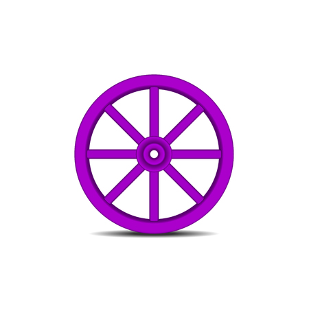 cartwheel: Vintage wooden wheel in purple design with shadow