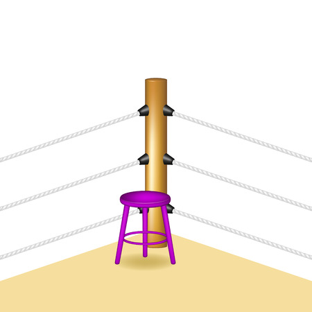wooden stool: Boxing corner with purple wooden stool