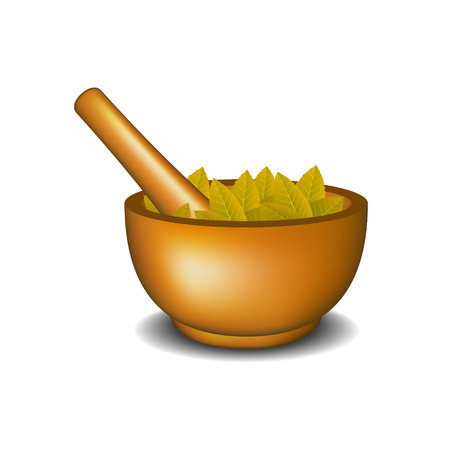 crush: Wooden mortar with pestle and brown leaves