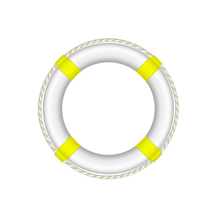 buoy: Life buoy in white and yellow design