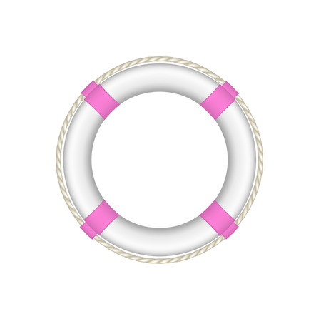life buoy: Life buoy in white and pink design with rope around Illustration