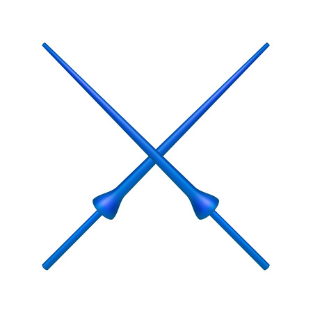 joust: Two crossed lances in blue design