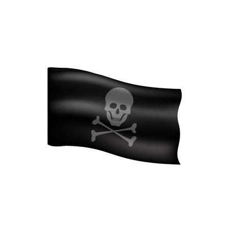 drapeau pirate: drapeau de pirate avec le symbole du cr�ne Illustration