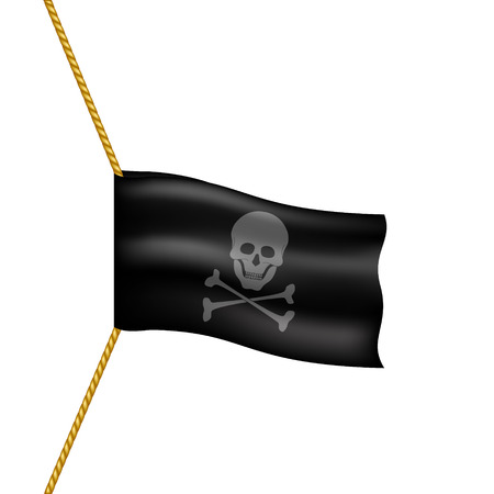 pirate flag: Pirate flag with skull symbol hanging on rope