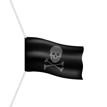 pirate flag: Pirate flag with skull symbol hanging on white rope