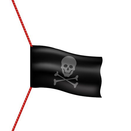 pirate flag: Pirate flag with skull symbol hanging on red rope