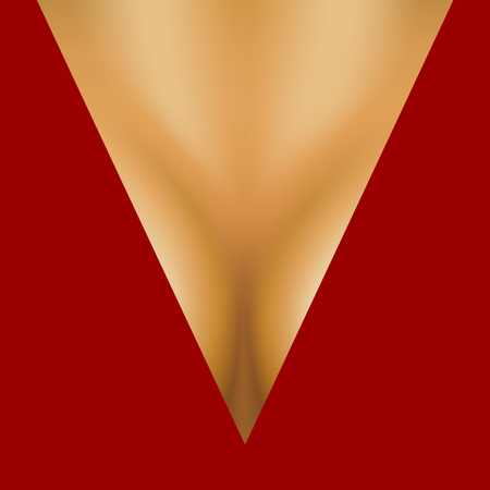 Womens breasts in low cut dress in red design Illustration