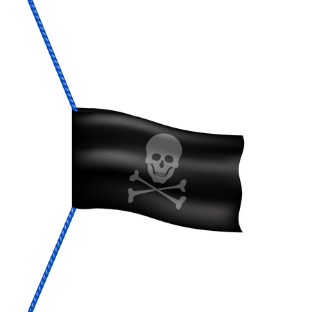 drapeau pirate: drapeau de pirate avec le symbole du cr�ne suspendu � la corde bleue Illustration
