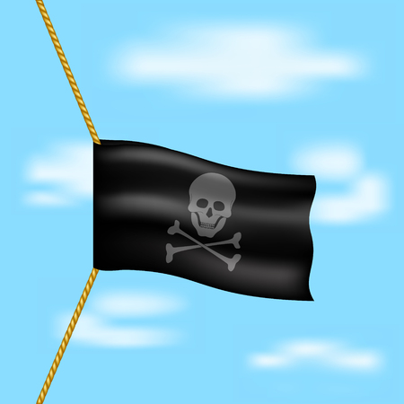 drapeau pirate: drapeau de pirate avec le symbole du crâne accroché sur la corde sur le ciel bleu Illustration