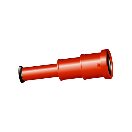 spyglass: Vintage spyglass in red design Illustration
