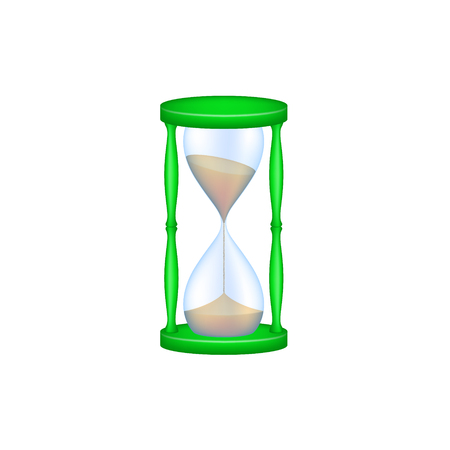 Sand glass in green design and blue glass