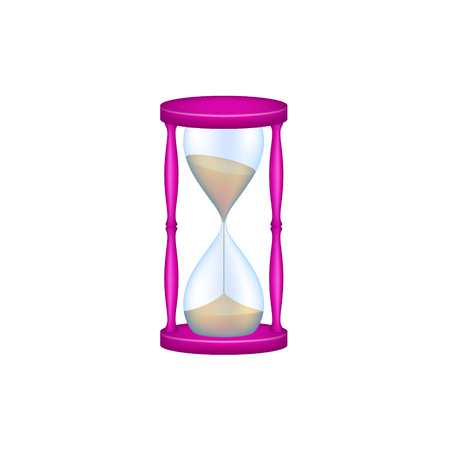 Sand glass in purple design and blue glass Illustration