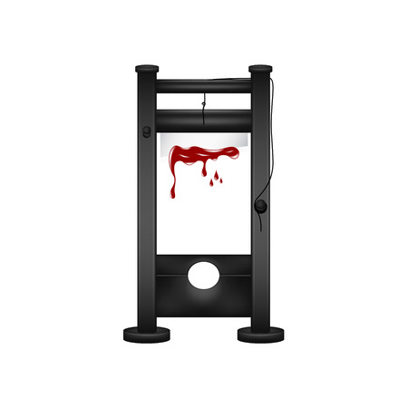 execute: Guillotine in black design with bloody blade