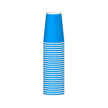 wares: Stack of cups in blue design Illustration