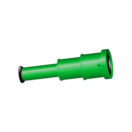 monocular: Vintage spyglass in black and green design