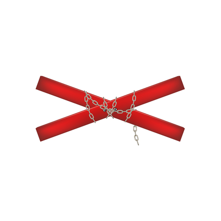 crossbar: Wooden crossbar in red design connected by chain