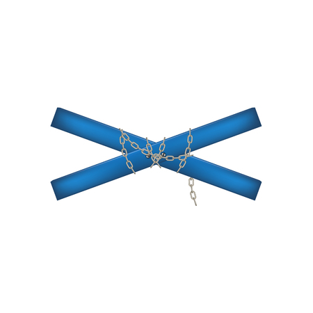 crossbar: Wooden crossbar in blue design connected by chain