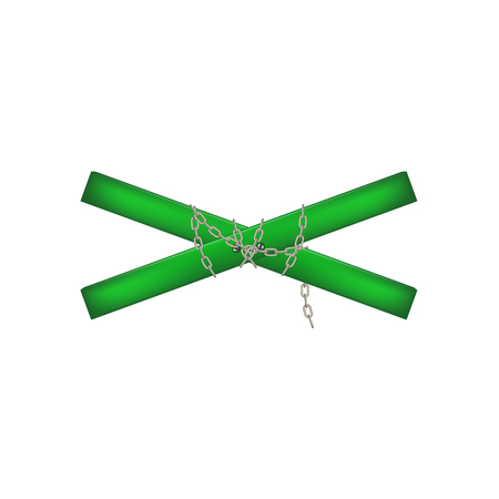 crossbar: Wooden crossbar in green design connected by chain Illustration