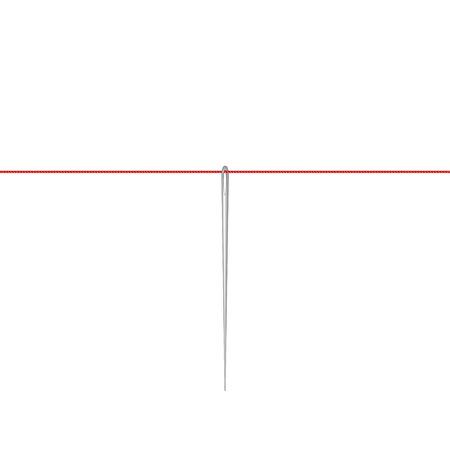 hilo rojo: Aguja en diseño de plata colgando de hilo rojo Vectores