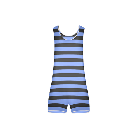 swimwear: Striped retro swimsuit in blue and black design