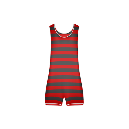 black fashion model: Striped retro swimsuit in red and black design Illustration