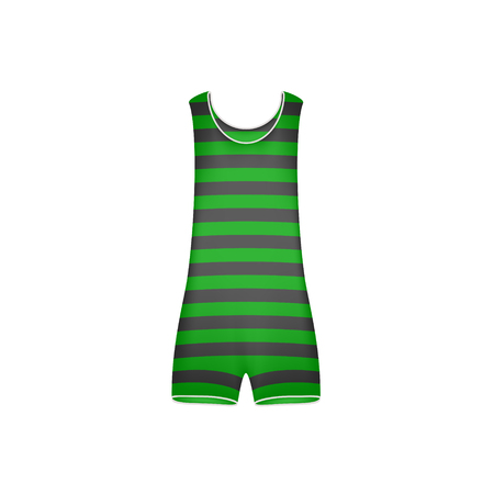 swimsuit: Striped retro swimsuit in green and black design