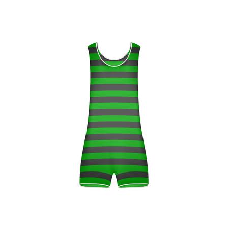 maillot de bain: Striped retro swimsuit in green and black design