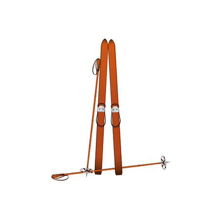 Old wooden alpine skis and old ski poles