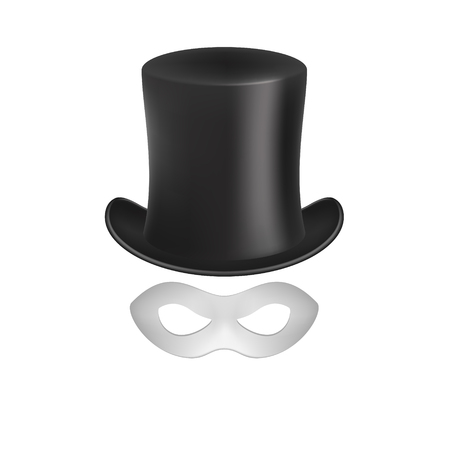 Gentleman hat and eye mask in white design