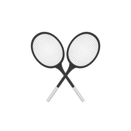 sport object: Crossed tennis rackets in retro design Illustration