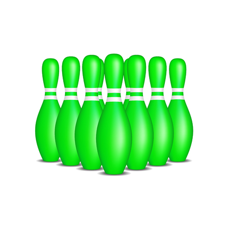 indoor sport: Bowling pins in green design with white stripes standing in formation