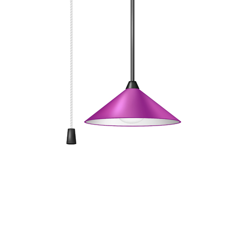fluorescence: Retro hanging lamp in purple design with cord switch