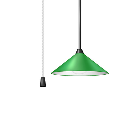 fluorescence: Retro hanging lamp in green design with cord switch