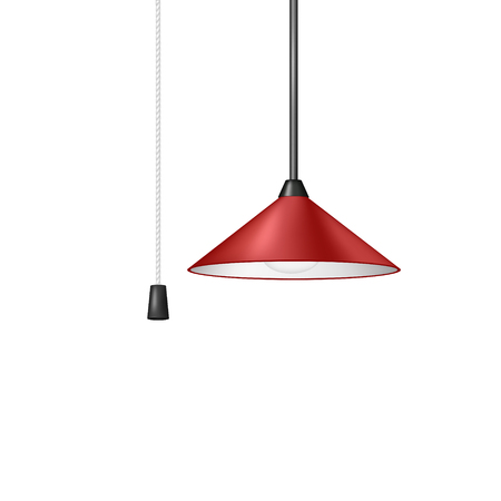 fluorescence: Retro hanging lamp in red design with cord switch Illustration