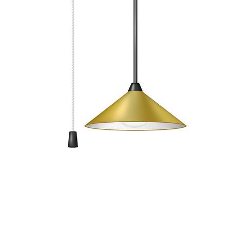 fluorescence: Retro hanging lamp in brown design with cord switch Illustration