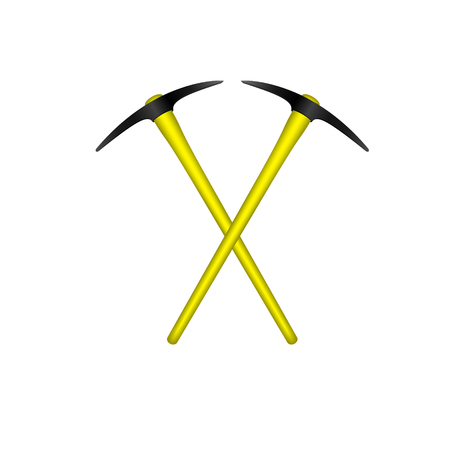 steel industry: Two crossed mattocks in black design with yellow handle