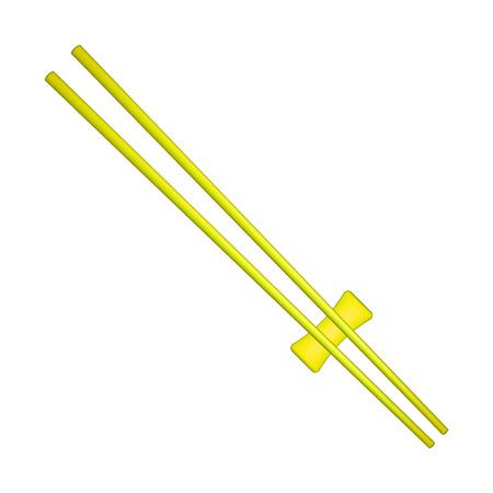 Wooden chopsticks in yellow design