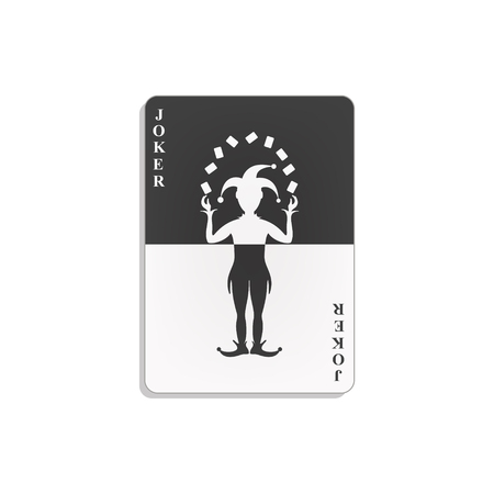 Playing card with Joker in black and white design Ilustração