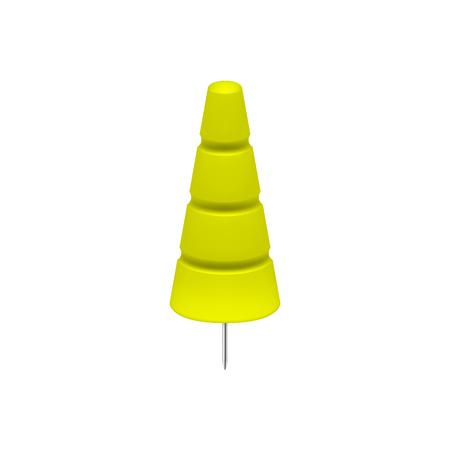 Yellow tree shaped push pin.
