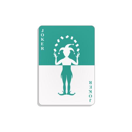 Cartão de jogo com coringa em design ciano e branco Foto de archivo - 91592516