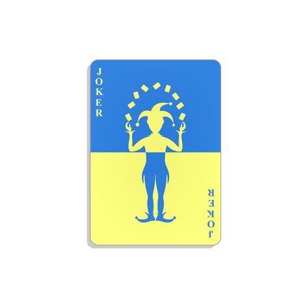 Cartão de jogo com Coringa em design azul e amarelo Foto de archivo - 91662102