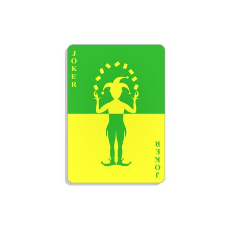 Cartão de jogo com Coringa em design verde e amarelo Foto de archivo - 91884195