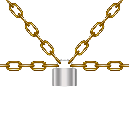 Brown chains locked by padlock in silver design