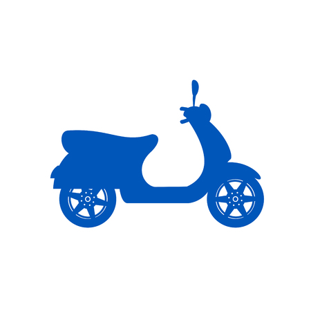 Silhouette of scooter in blue design Vector illustration isolated on white background.  イラスト・ベクター素材