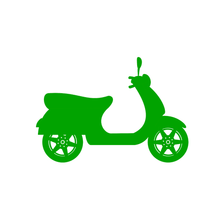Silhouette of scooter in green design illustration.