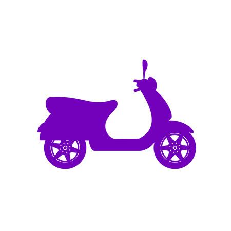 Silhouette of scooter in purple design