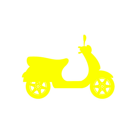 Silhouette of scooter in yellow design