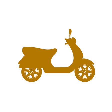 Silhouette of scooter in brown design  イラスト・ベクター素材