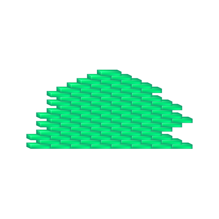 Brick wall in cyan design